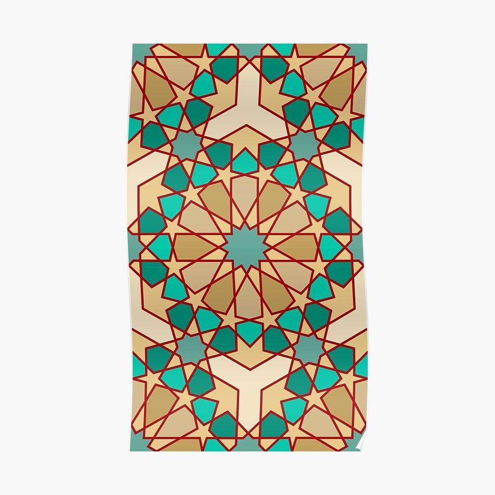 Geometric Pattern: Arabic Tiles: Turquoise Poster