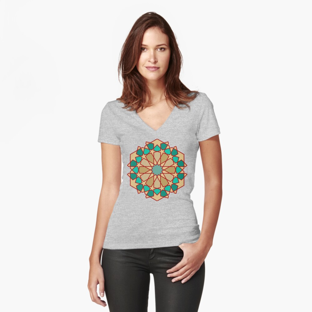 Geometric Pattern: Arabic Tiles: Turquoise Fitted V-Neck T-Shirt