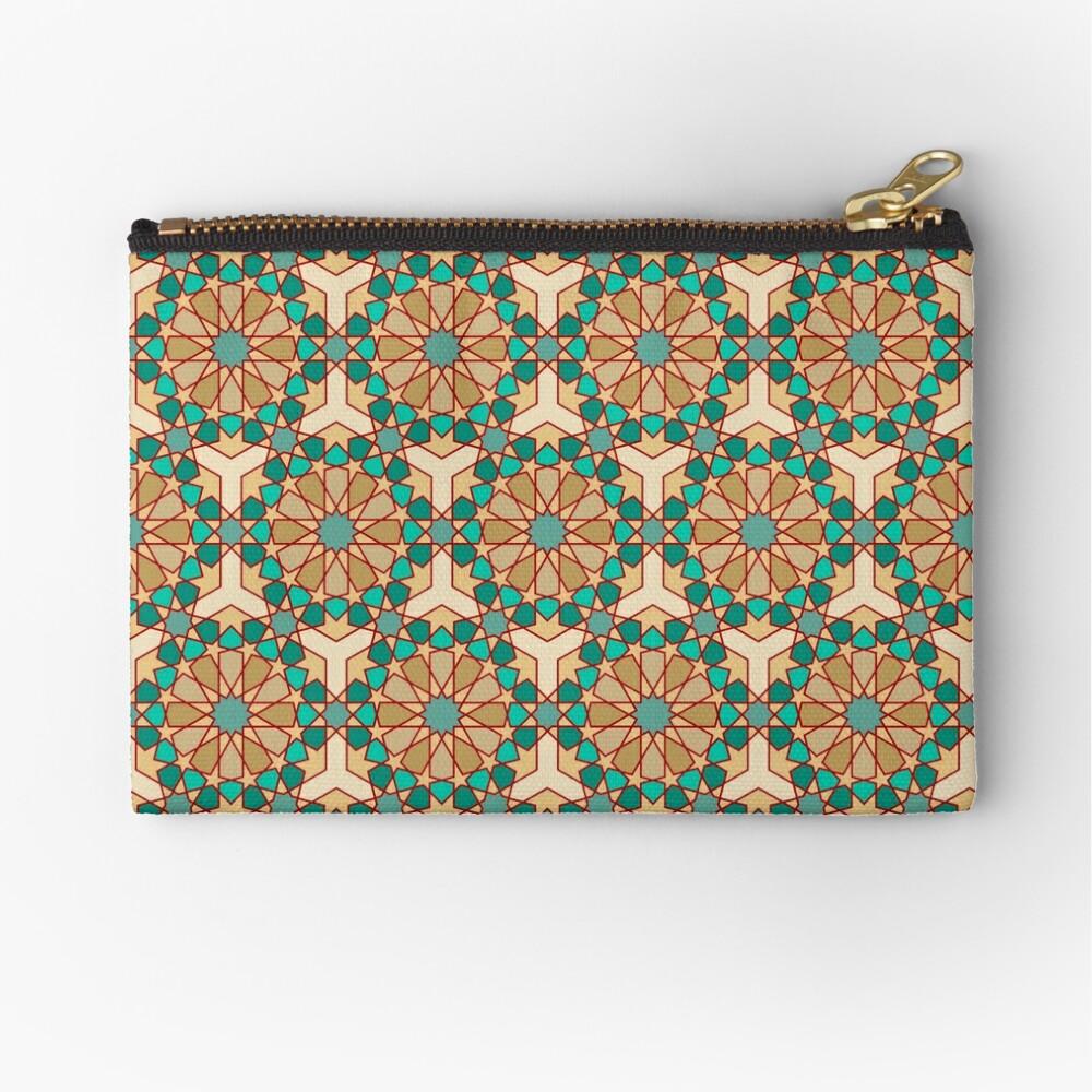 Geometric Pattern: Arabic Tiles: Turquoise Zipper Pouch