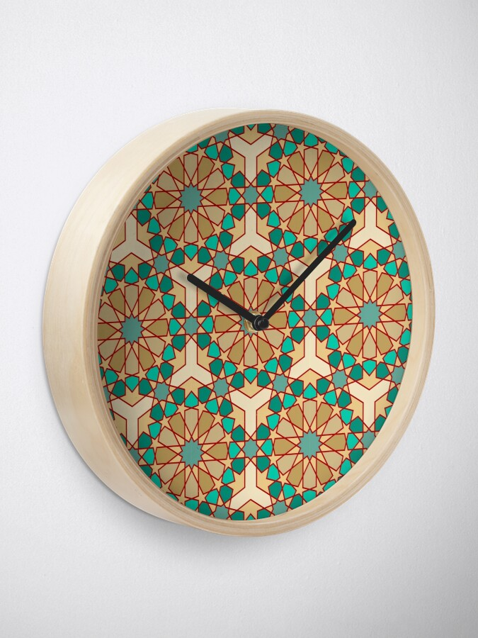 Alternate view of Geometric Pattern: Arabic Tiles: Turquoise Clock