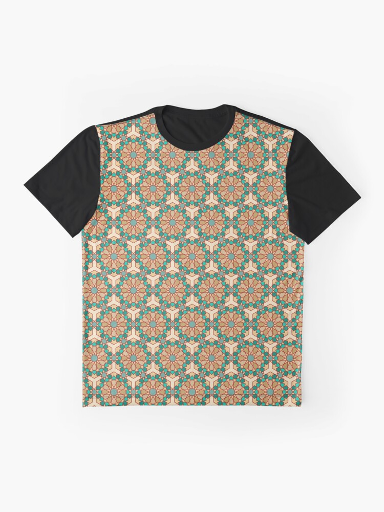 Alternate view of Geometric Pattern: Arabic Tiles: Turquoise Graphic T-Shirt