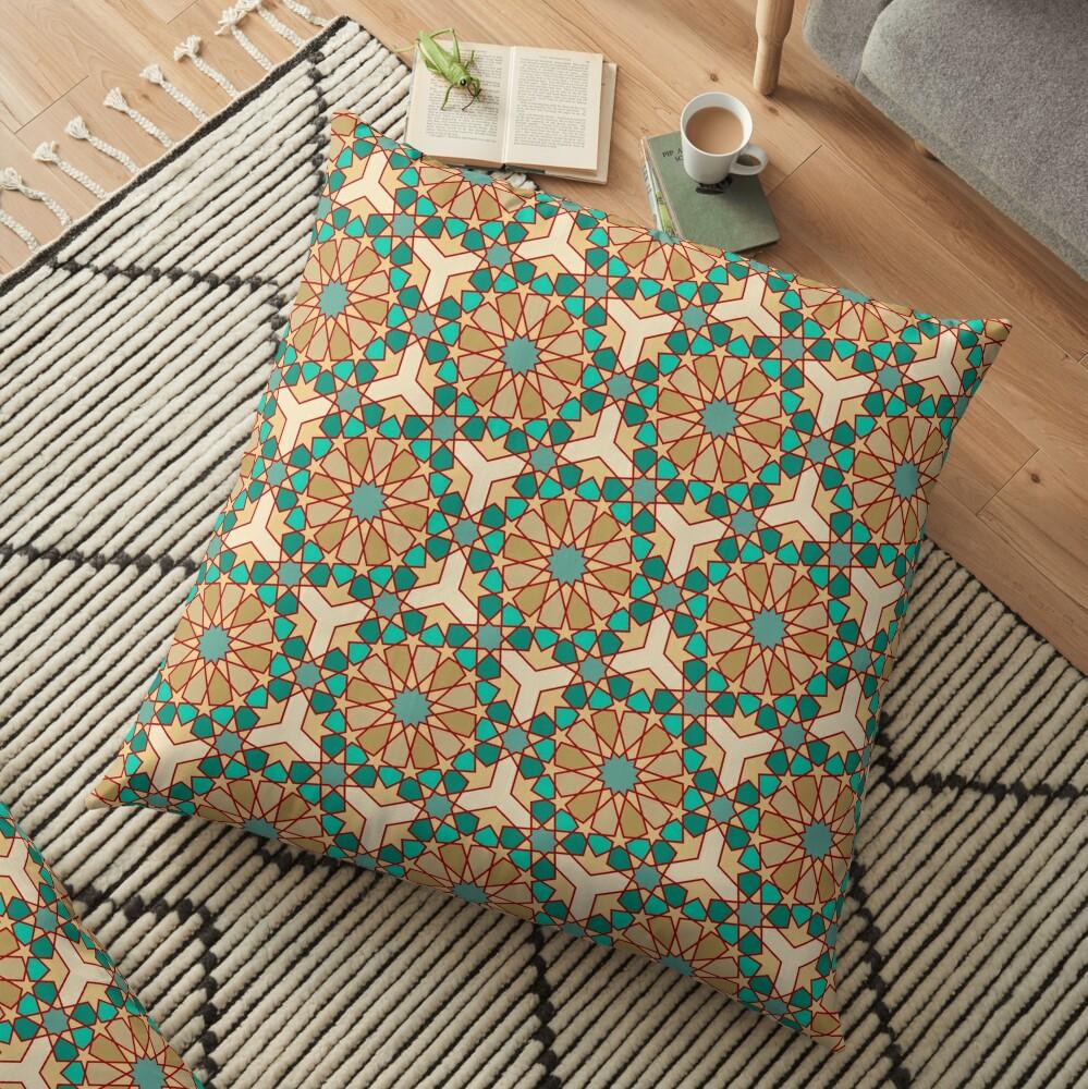 Geometric Pattern: Arabic Tiles: Turquoise Floor Pillow