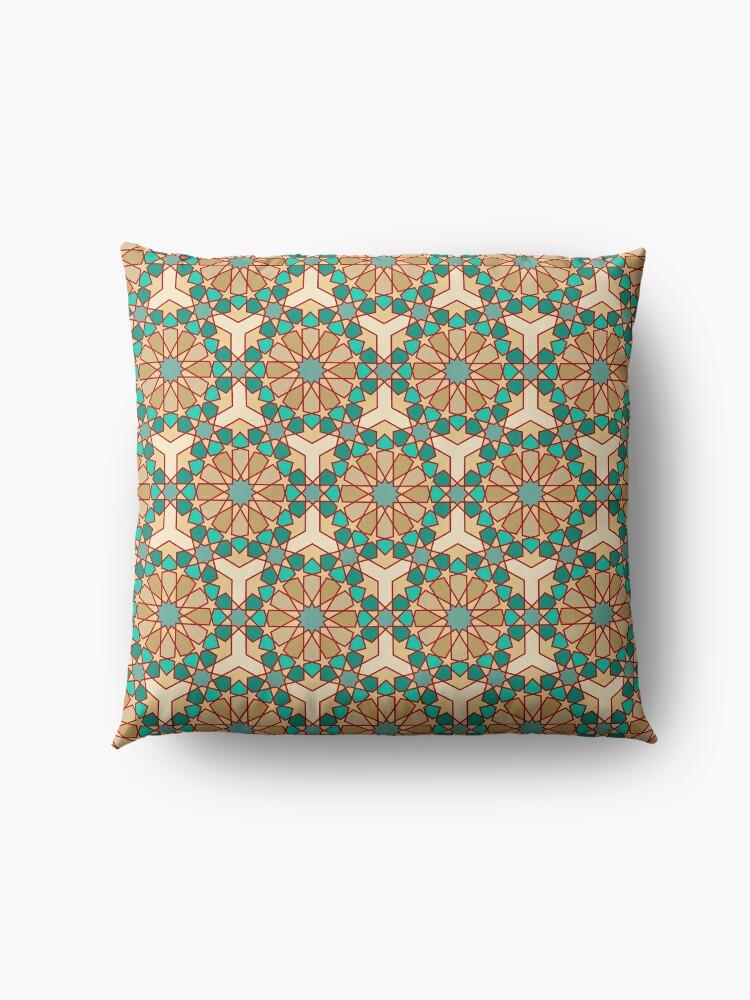 Alternate view of Geometric Pattern: Arabic Tiles: Turquoise Floor Pillow