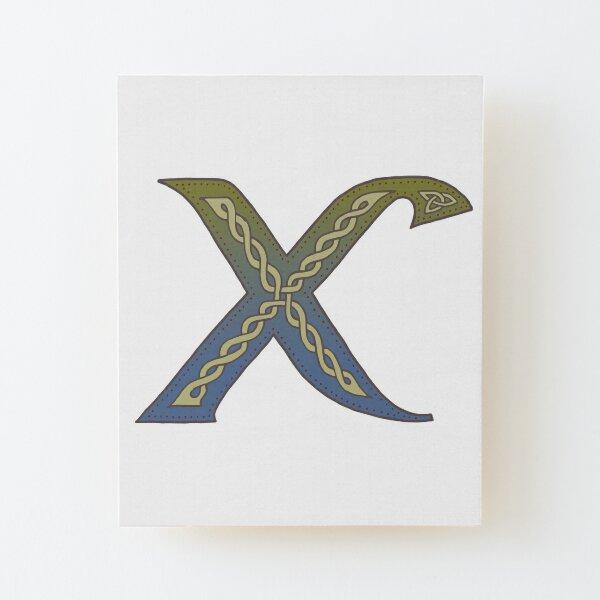 Celtic Knotwork Alphabet - Letter X Wood Mounted Print