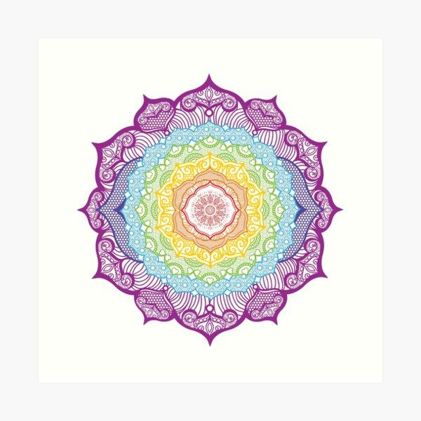 Diseño de mandala de 7 chakras Lámina artística