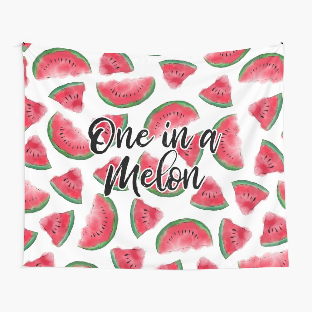One in a Melon Quote Watermelon Watercolor Pattern Wall Tapestry