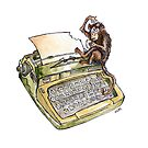 Typewriter Monkey by Jokertoons