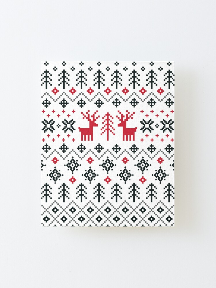 Alternate view of Holiday Sweater Pattern Mounted Print