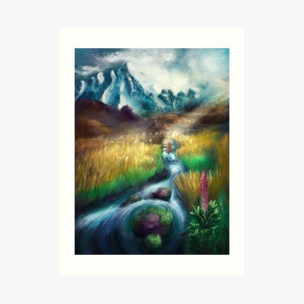 Idyllic scenery with a mill  - Digital Painting Art Print