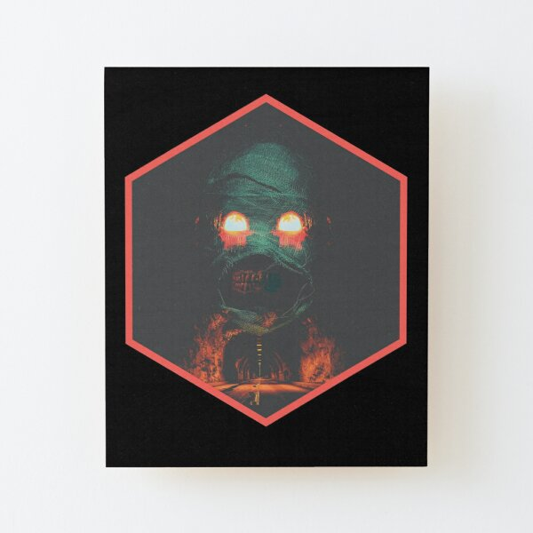 Grim Road: Hexagon in Black Wood Mounted Print