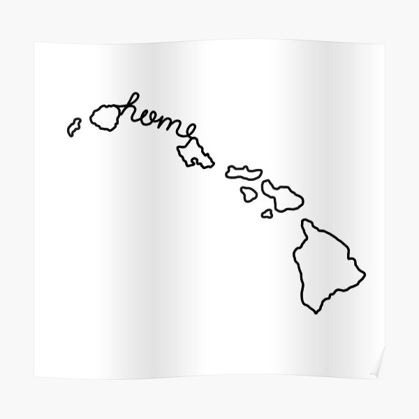 Hawaii Home State Outline Poster