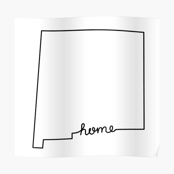 New Mexico Home State Outline Poster