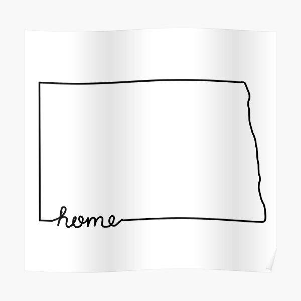 North Dakota Home State Outline Poster