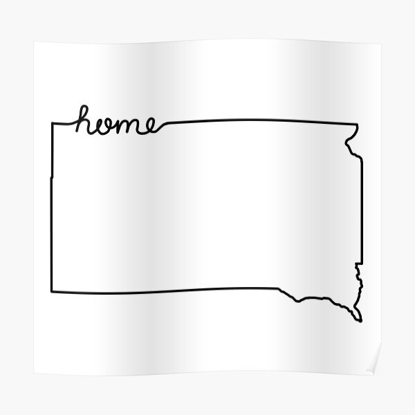 South Dakota Home State Outline Poster