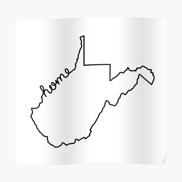 West Virginia Home State Outline Poster