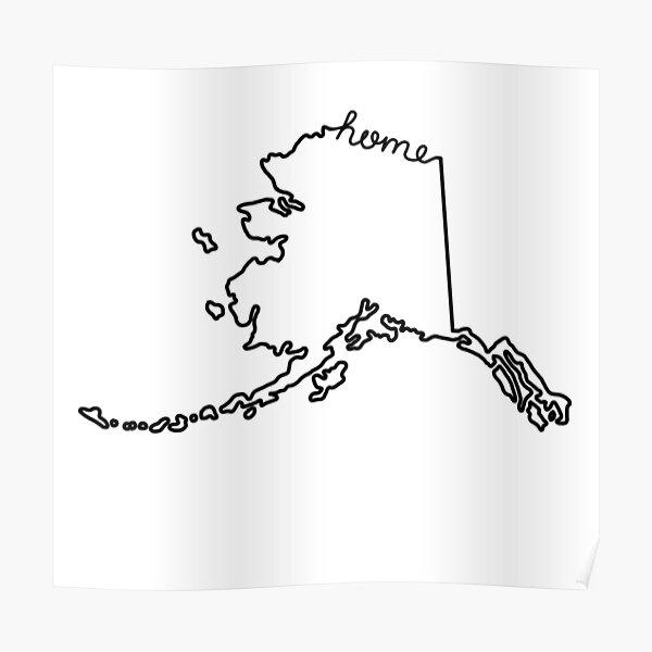 Alaska Home State Outline Poster