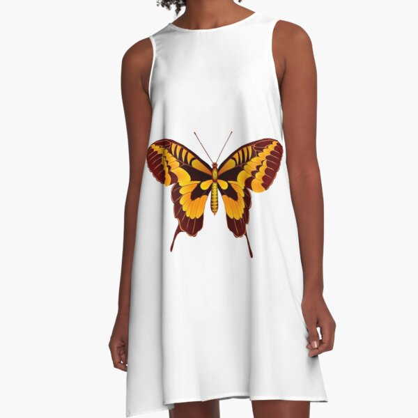 Yellow and brown butterfly A-Line Dress