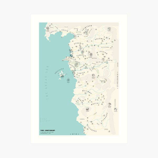 Illustrated Witcher World Map Art Print