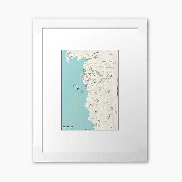 Illustrated Witcher World Map Framed Art Print
