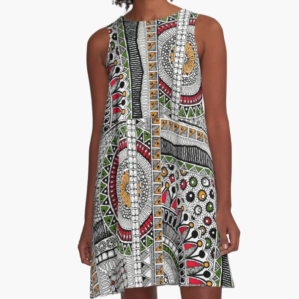 Urban Tribal Red, Gold, Green:  A-Line Dress