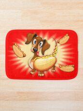 Dachshund Hot Dog Cute and Funny Character Bath Mat
