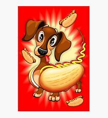 Dachshund Hot Dog Cute and Funny Character Photographic Print