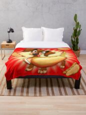Dachshund Hot Dog Cute and Funny Character Throw Blanket