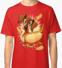 Dachshund Hot Dog Cute and Funny Character Classic T-Shirt
