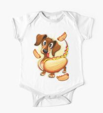 Dachshund Hot Dog Cute and Funny Character Short Sleeve Baby One-Piece