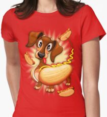 Dachshund Hot Dog Cute and Funny Character Fitted T-Shirt