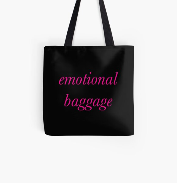 Emotional Baggage Slogan Italic. Hot Pink Text on Black All Over Print Tote Bag