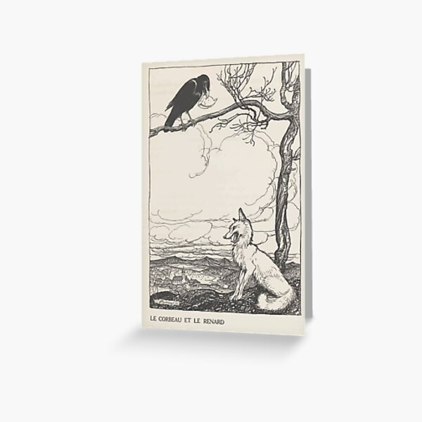 Aesop's Fables art by Arthur Rackham 1913 0026 The Fox and the Crow Greeting Card