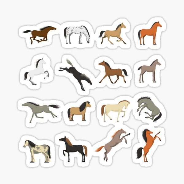 Different Horses Stickers Glossy Sticker