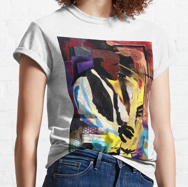 Acryl und zweckentfremdetes Papier im Geiste von Romare Bearden. Das Bild zeigt die Jazz-Saxophon-Legende Phathead Newman in brillanten Farben und modernem Design. Classic T-Shirt