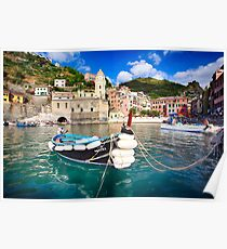 Small Boat in a Harbor Poster