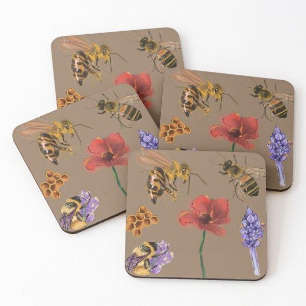 Fuzzy Bee Friends  Coasters (Set of 4)