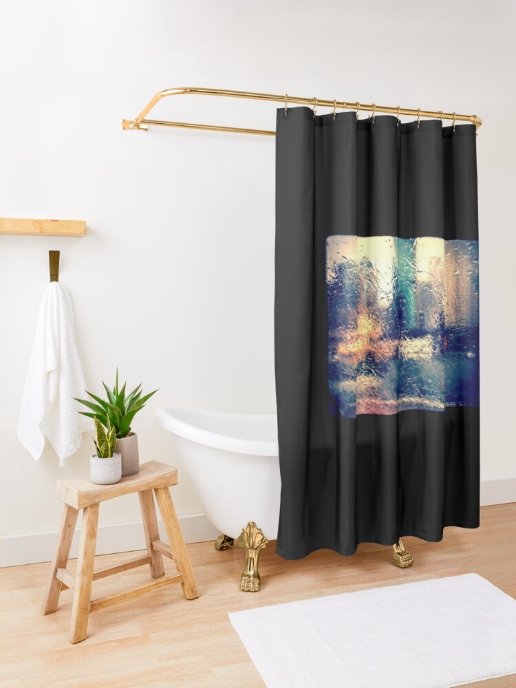 Alternate view of Rainy abstract Shower Curtain