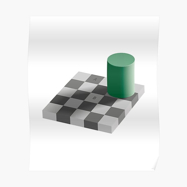 Checkerboard Shadow Optical Illusion  Poster