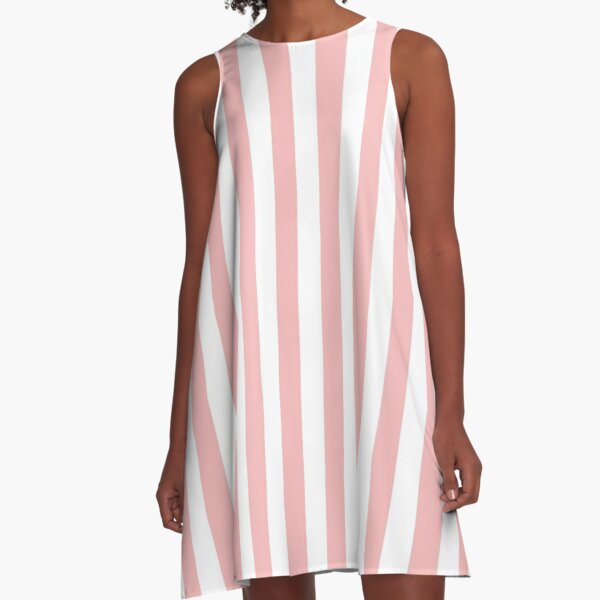 Large Powder Pink and White Vertical Cabana Tent Stripes A-Line Dress
