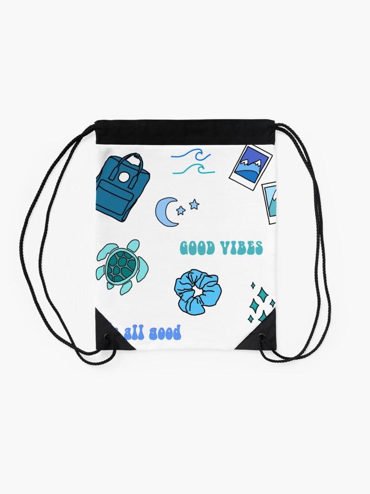 Alternate view of Blue Vsco Girl Sticker Packet Drawstring Bag