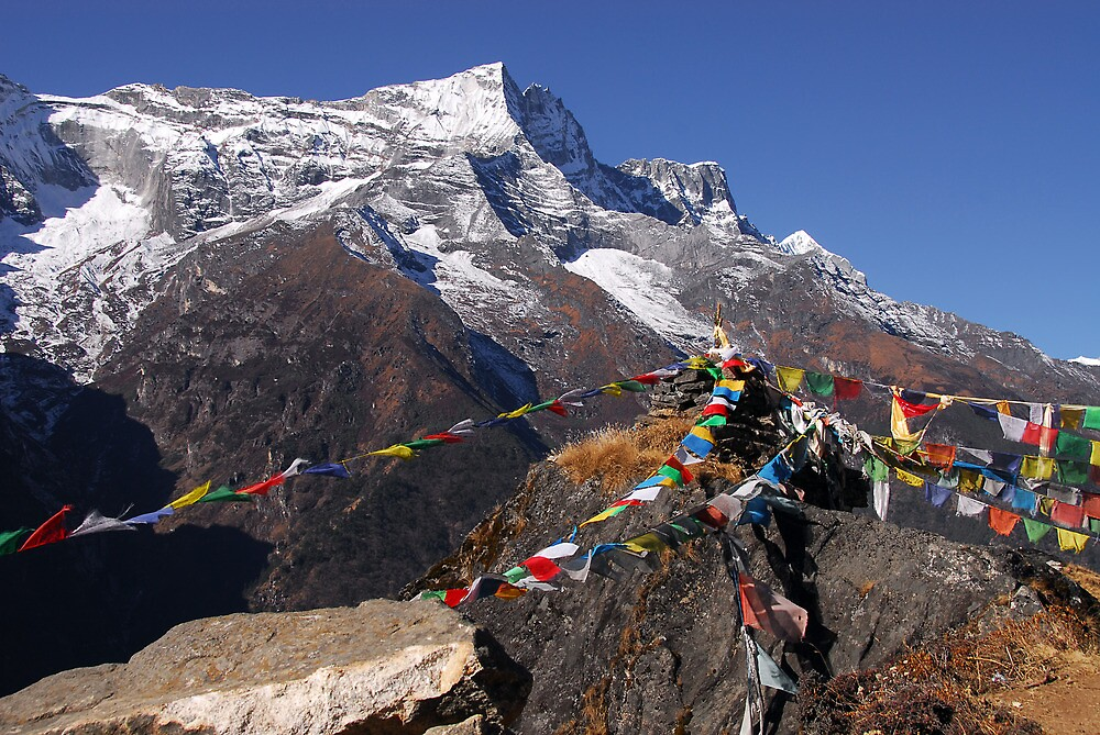 Prayer flags and Mt Thamserku by Richard  Stanley