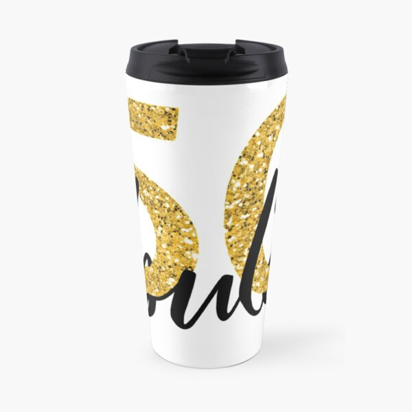 50 Fifty and Fabulous Gold Glitter  Travel Mug