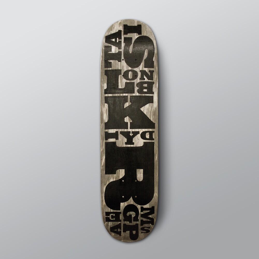 SIMPLY Skateboarding hand painted deck 02 by Steve Leadbeater