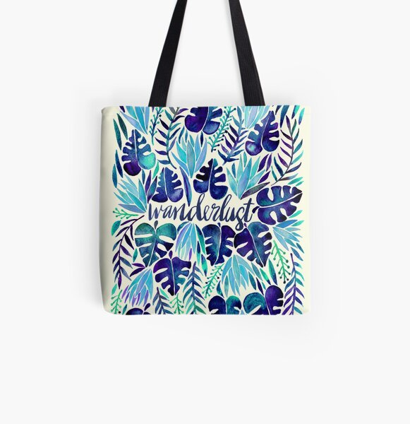 Tropical Wanderlust – Blue All Over Print Tote Bag