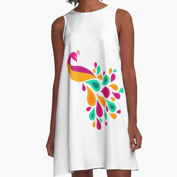 Colorful peacock A-Line Dress