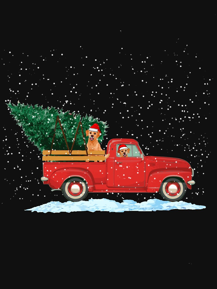 Labrador Retriever Vintage Red Pickup Truck Christmas Tree by techman516