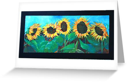 five sunflowers by Almeta