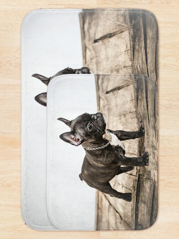 Alternate view of French bulldog portrait Bath Mat