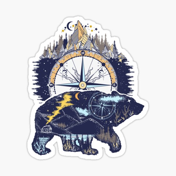 Bear and mountains Sticker