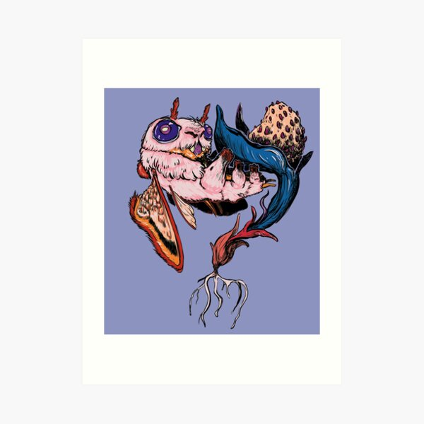 Phatmoth Resting on a Nightberry Art Print